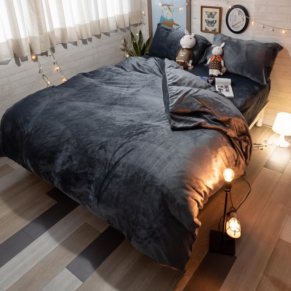 鐵灰 法蘭絨床包兩用毯組 溫暖舒適 台灣製【棉床本舖】