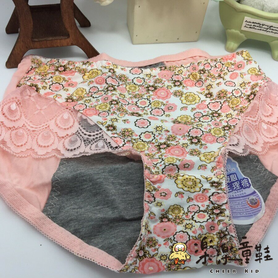 【樂樂童鞋】純棉碎花蕾絲生理褲 - 純棉碎花蕾絲生理褲 生理褲 內褲