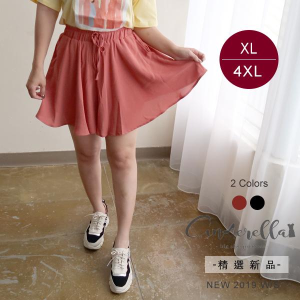 大碼仙杜拉-大傘襬腰鬆緊雪紡褲裙 XL-4XL碼 ❤【OLR2025】(預購)