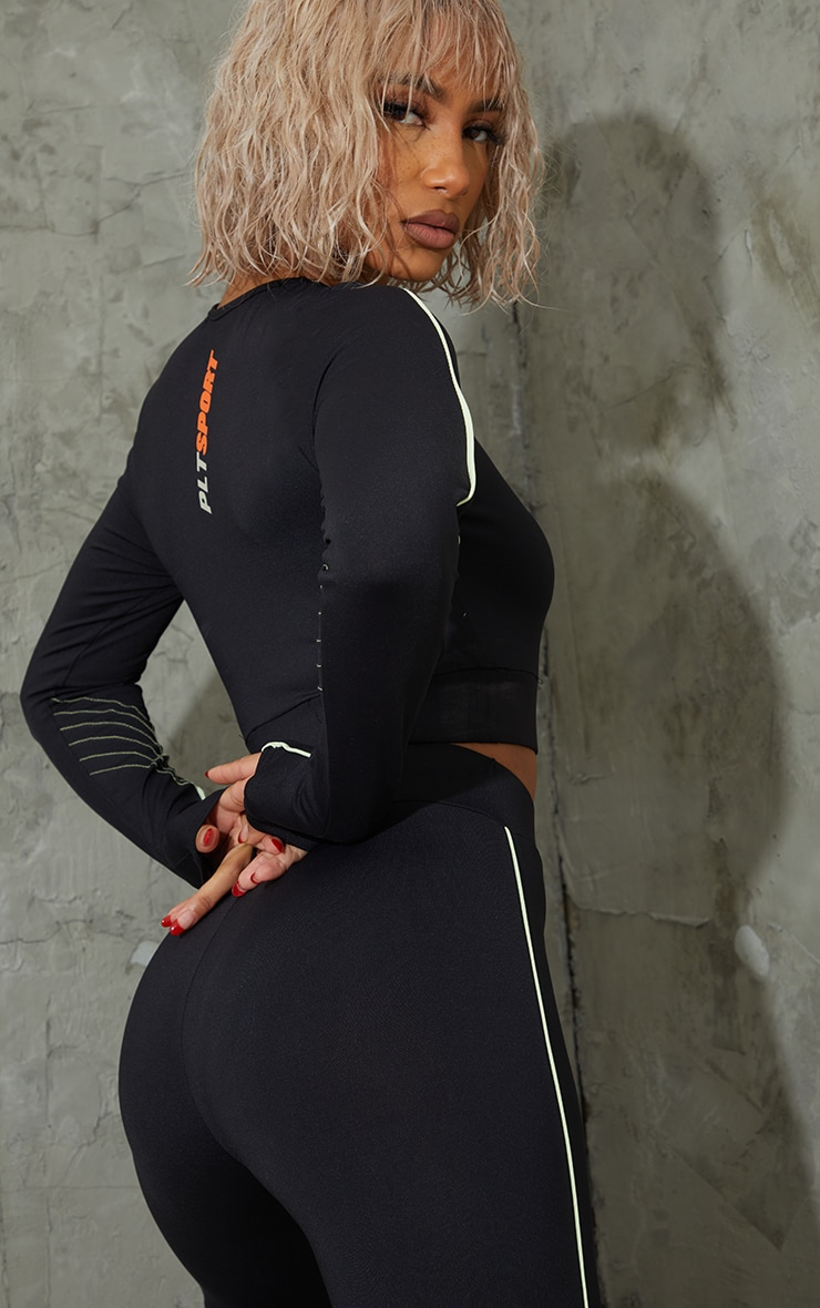 Black Piping Detail Long Sleeve Cropped Sports Top