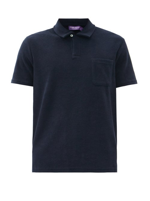 Ralph Lauren Purple Label - Riviera Terry-cotton Polo Shirt - Mens - Navy