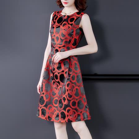 【最水】華麗圈圈燒花收腰無袖洋裝紅色/XL~3L(109108)