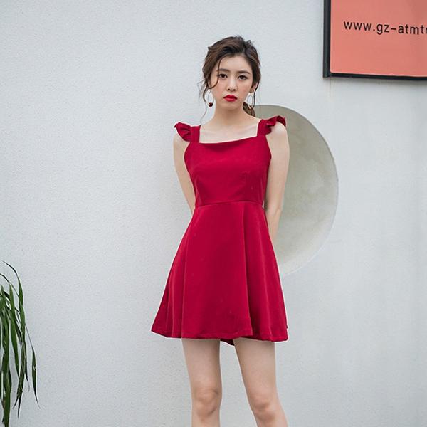 Qmigirl 清新連身裙性感高腰顯瘦交叉露背小黑裙 洋裝【WT496】