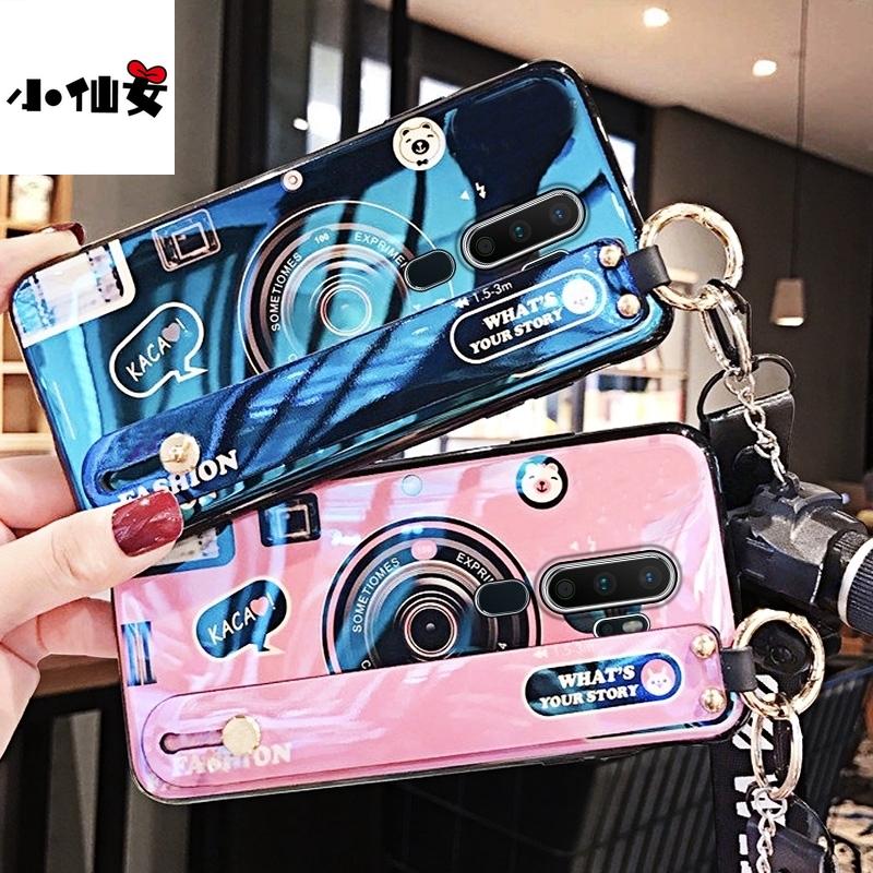 小仙女藍光相機腕帶 華碩ROG2 ZS660KL手機殼ROG Phone 2代 個性小吊墜潮牌矽膠掛繩防摔全包邊保護套