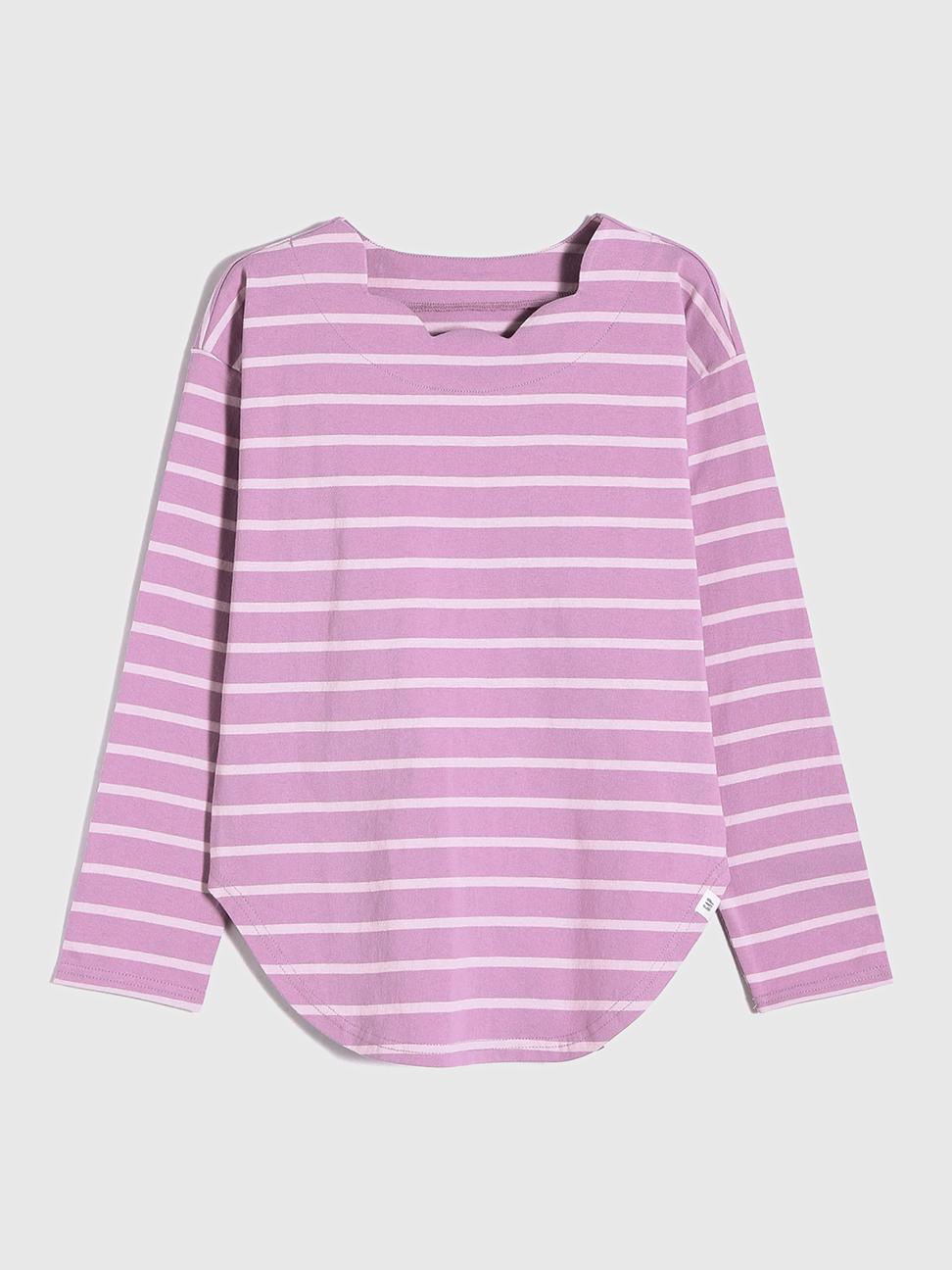 女童 純棉條紋波浪領長袖T恤