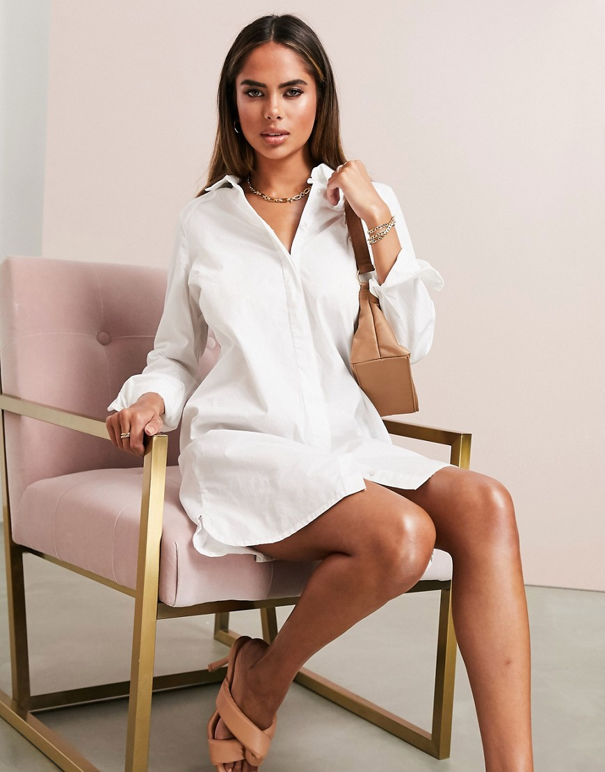 ASOS DESIGN organic cotton mini shirt dress in white