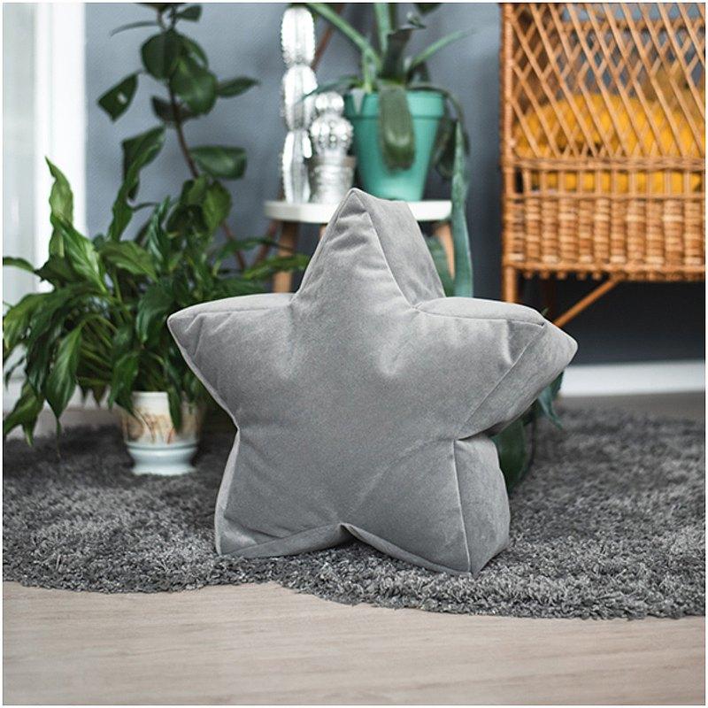 灰色絲絨星星豆袋椅-幼兒托兒地墊