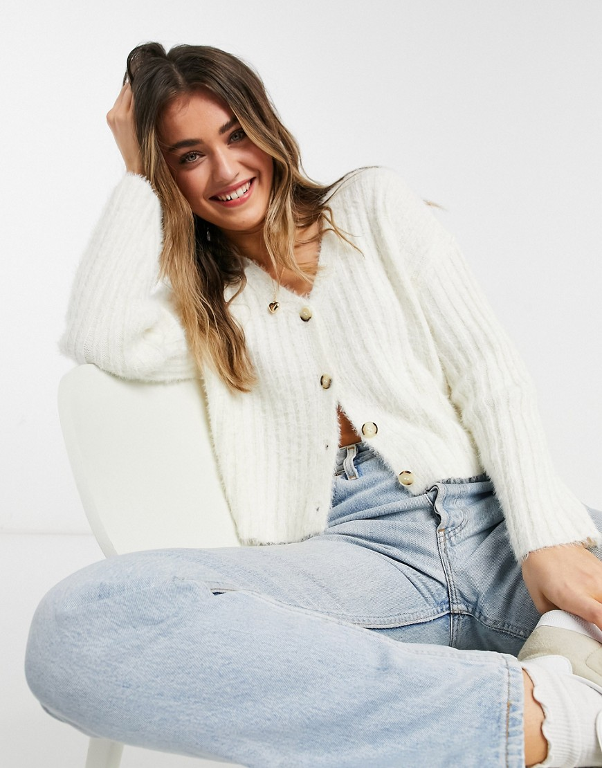 New Look fluffy knit ribbed cardigan in cream-White