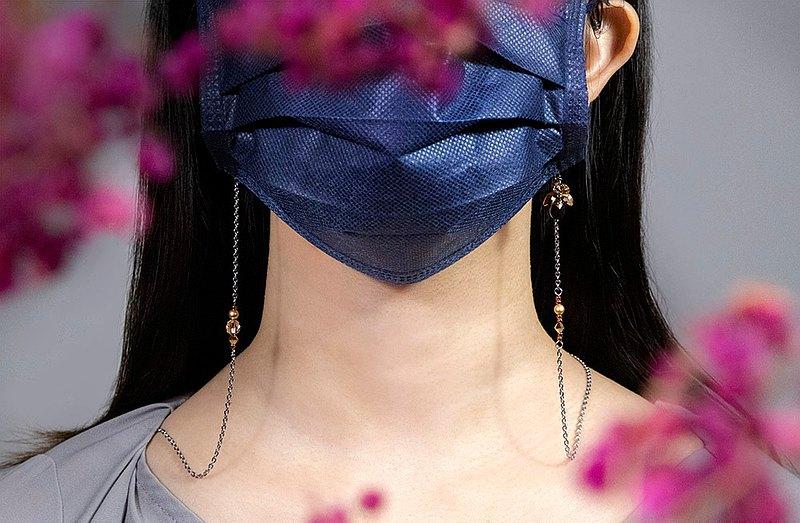 【還可當耳環、手鍊、眼鏡鍊】向陽 閃爍玫瑰金口罩鍊 實用禮物