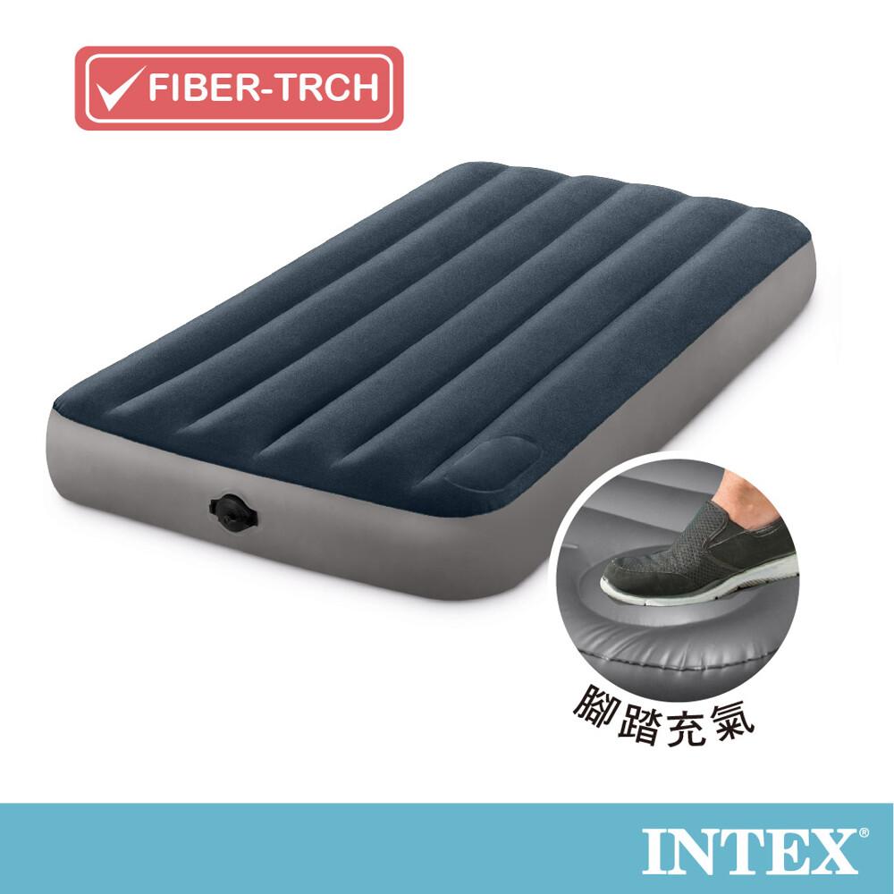 intex經典海軍藍(電池式幫浦+腳踏幫浦)-單人加大充氣床-寬99cm (64781)