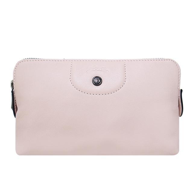 LONGCHAMP LE PLIAGE CUIR系列小羊皮手拿/化妝包(櫻花粉)