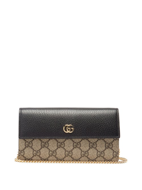 Gucci - Marmont Gg-supreme Canvas And Leather Wallet - Womens - Black Multi
