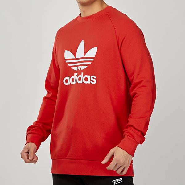 Adidas Originais Trefoil Crew 男裝 紅 柔軟 法國棉 LOGO 上衣 長袖 FM3781