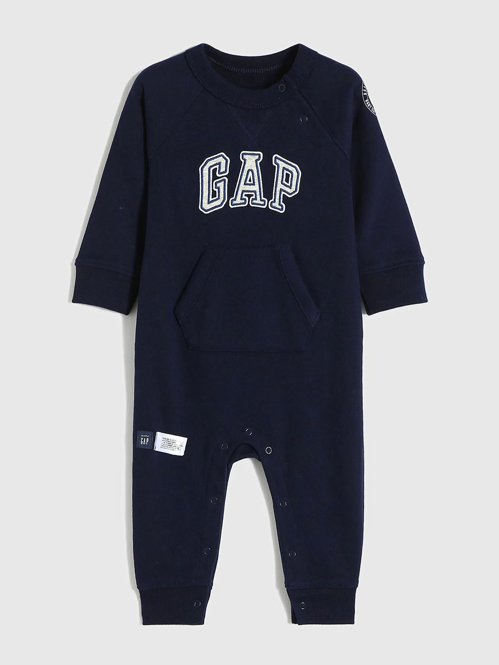 嬰兒 碳素軟磨系列 Logo法式圈織長袖連身衣