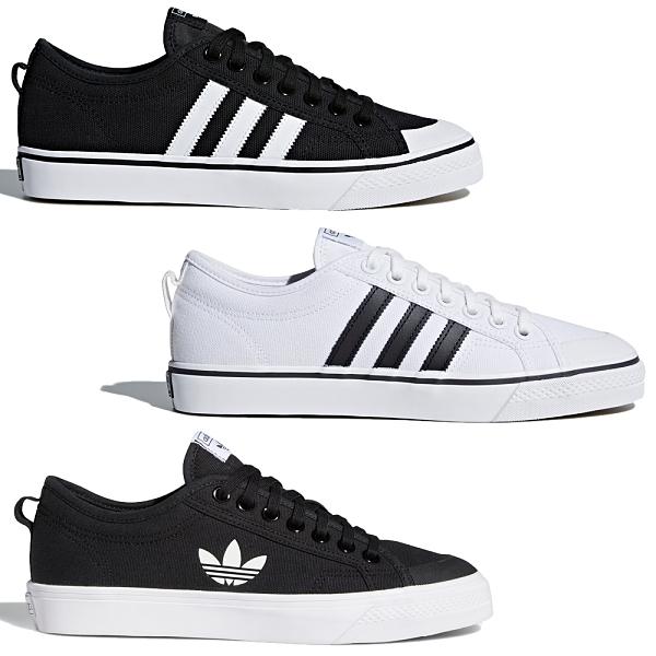 【現貨】Adidas NIZZA 女鞋 休閒 復古 帆布鞋 膠底 黑/白/三葉草【運動世界】CQ2332 / CQ2333 / FW5185