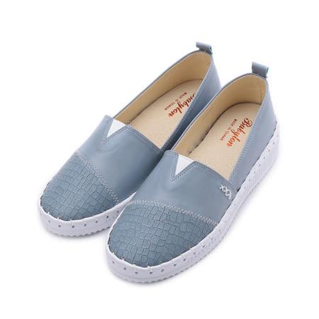 BABYLON 裂紋縫線平底鞋 藍 女鞋