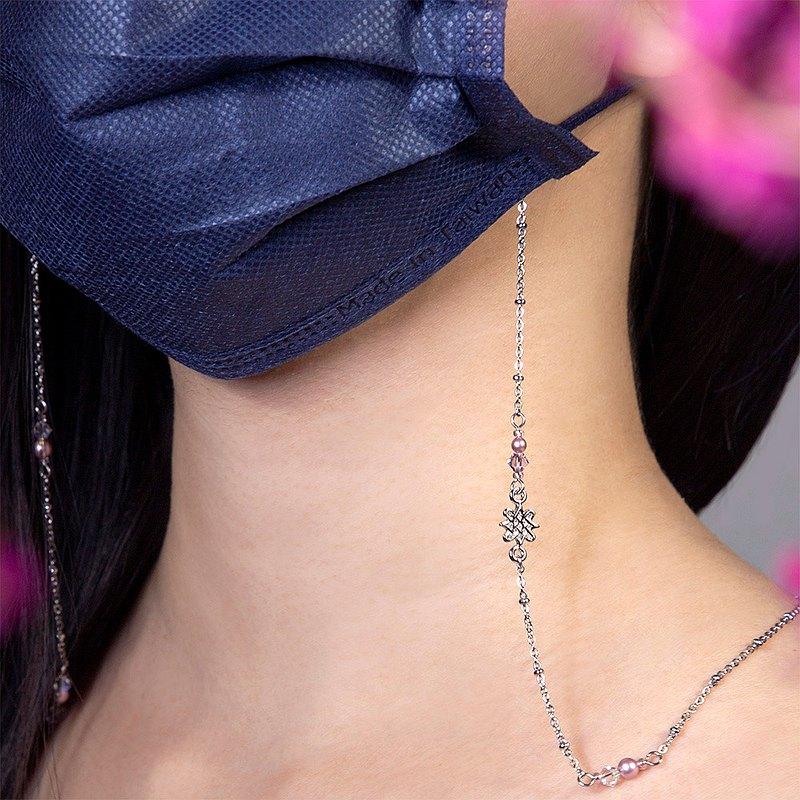 【還可當項鍊、手鍊、眼鏡鍊】蓮蓮(粉) 圖騰花樣水晶防疫口罩鍊
