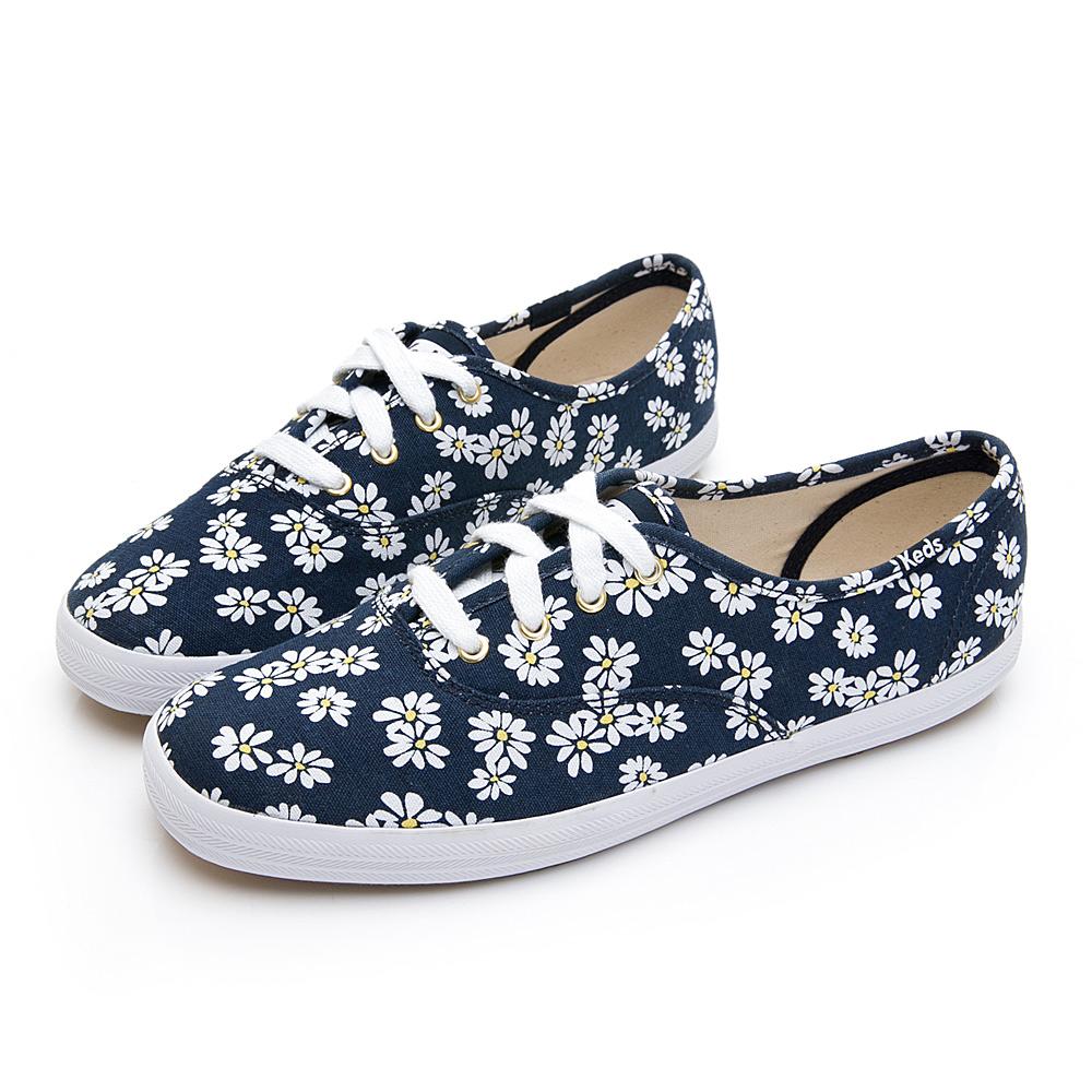CHAMPION 印花雛菊綁帶帆布鞋-海軍藍