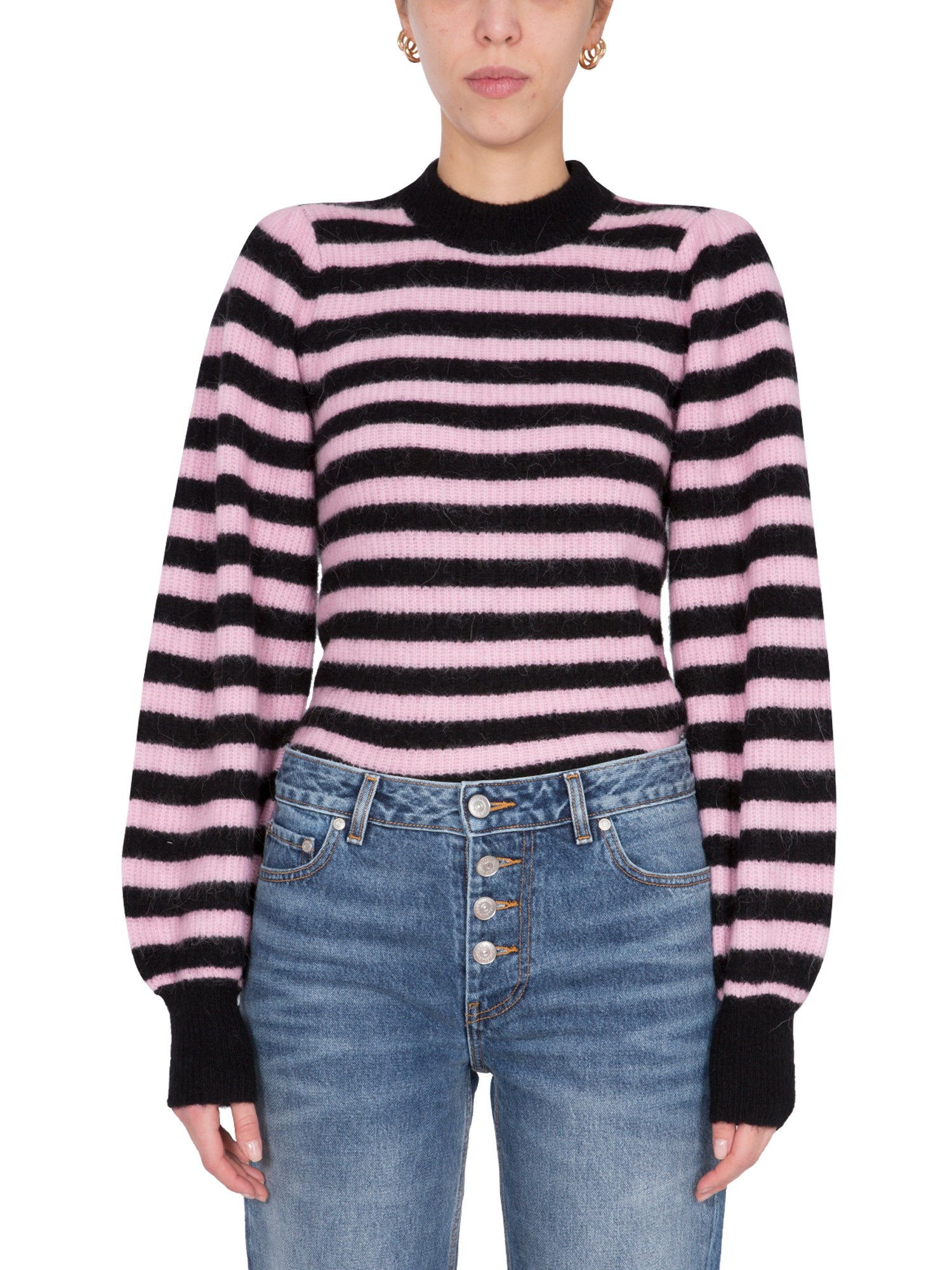 ganni sweater with striped pattern
