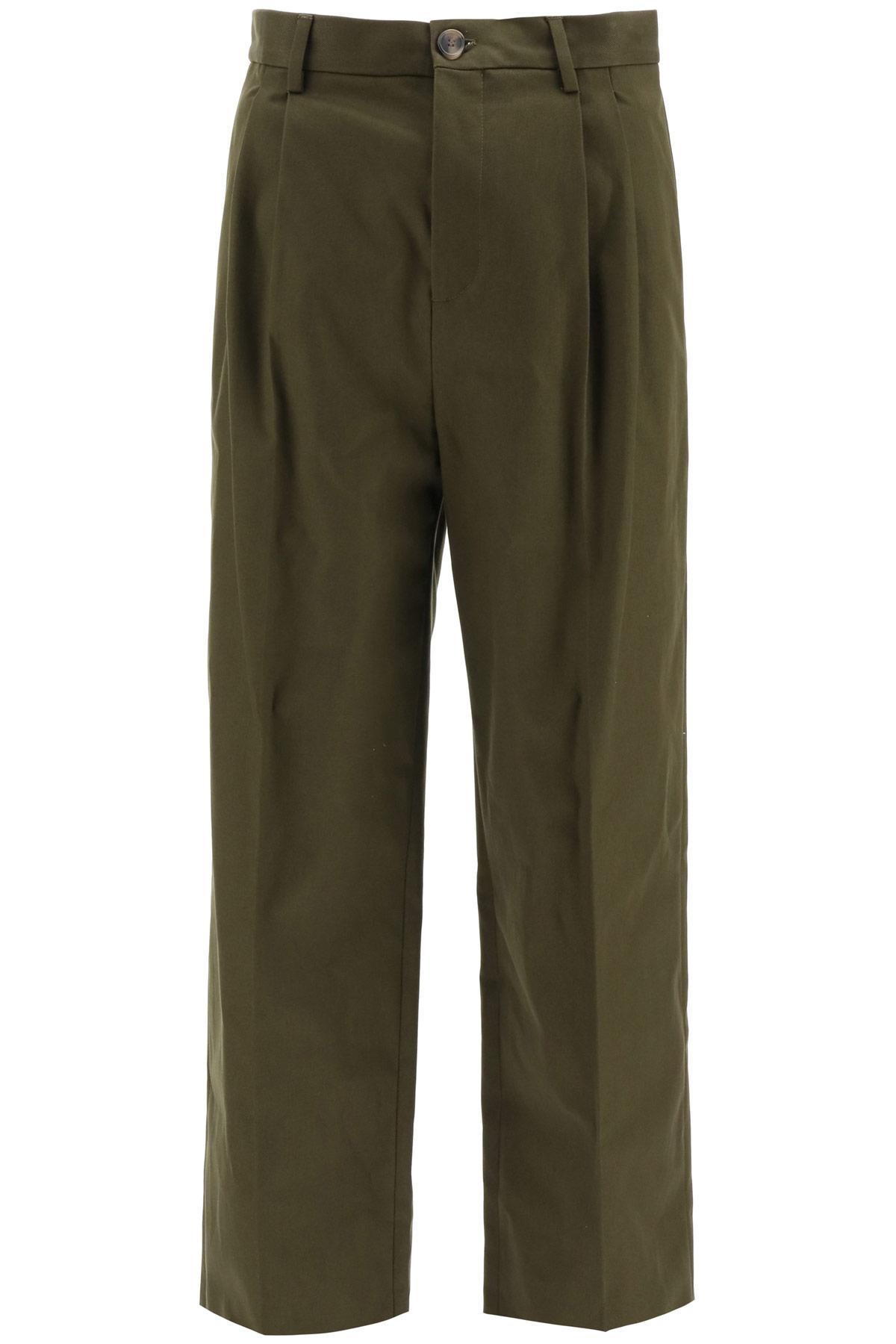 LOEWE CHINO TROUSERS ANAGRAM EMBROIDERY 50 Khaki, Green Cotton