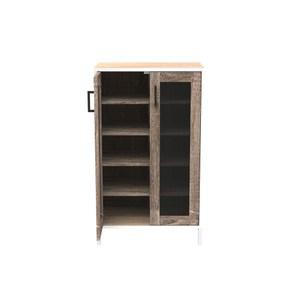 組 - 組合收納櫃 橡櫃胡桃層黑網門白鐵腳 60x35x91cm