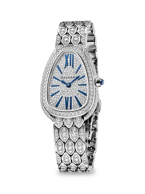 Serpenti Seduttori 18K White Gold & Full Diamond Pavé Bracelet Watch