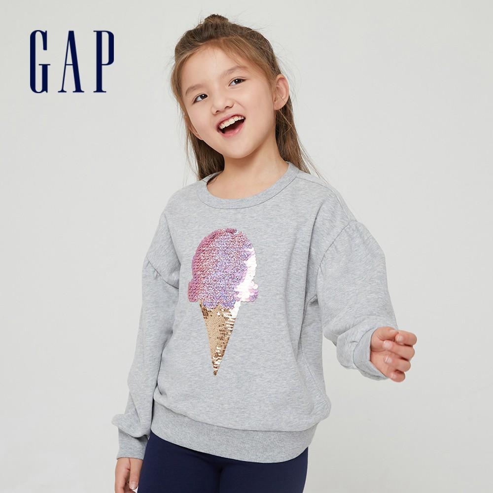 Gap 女童 翻轉亮片碳素軟磨圓領休閒上衣 823877-淺麻灰