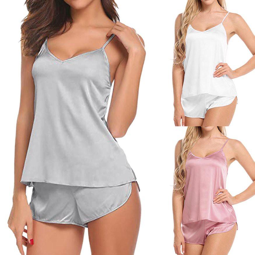 婦女的時尚冰絲睡衣套裝內衣睡衣背心+短褲睡衣 潮可 新品 上新 新品