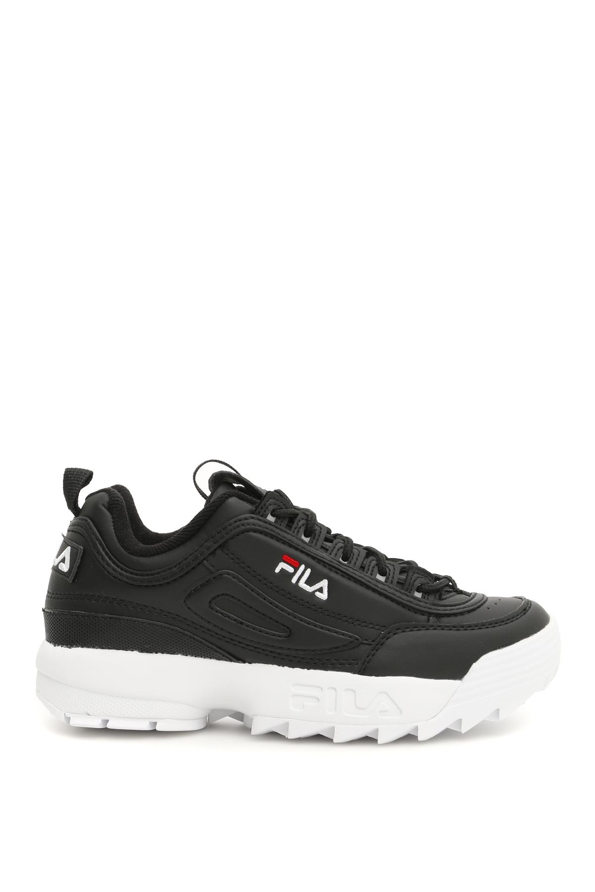 FILA DISRUPTOR LOW SNEAKERS 9 Black, White Faux leather