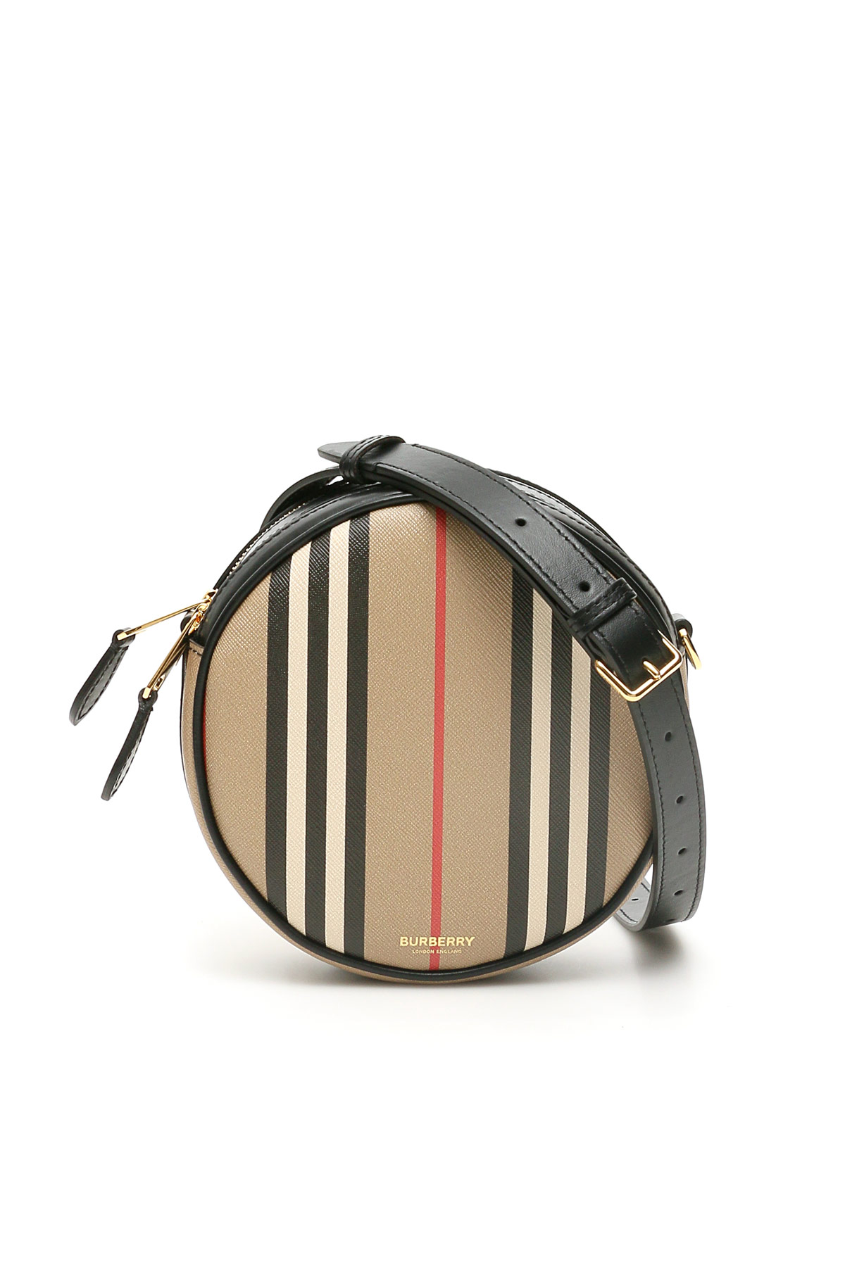 BURBERRY LOUISE ROUND BAG OS Beige, Black, Red Leather, Cotton