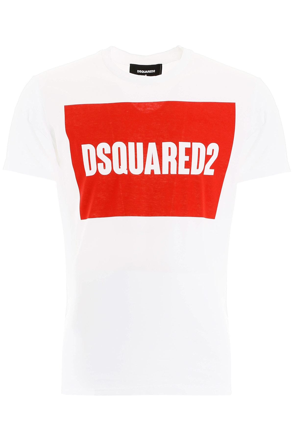 DSQUARED2 LOGO BOX PRINT T-SHIRT XL White, Red Cotton