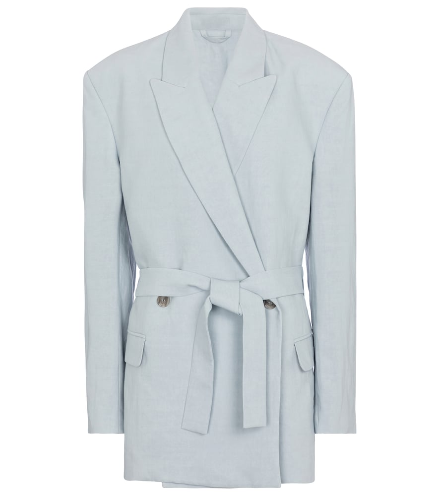 Belted linen and cotton blazer