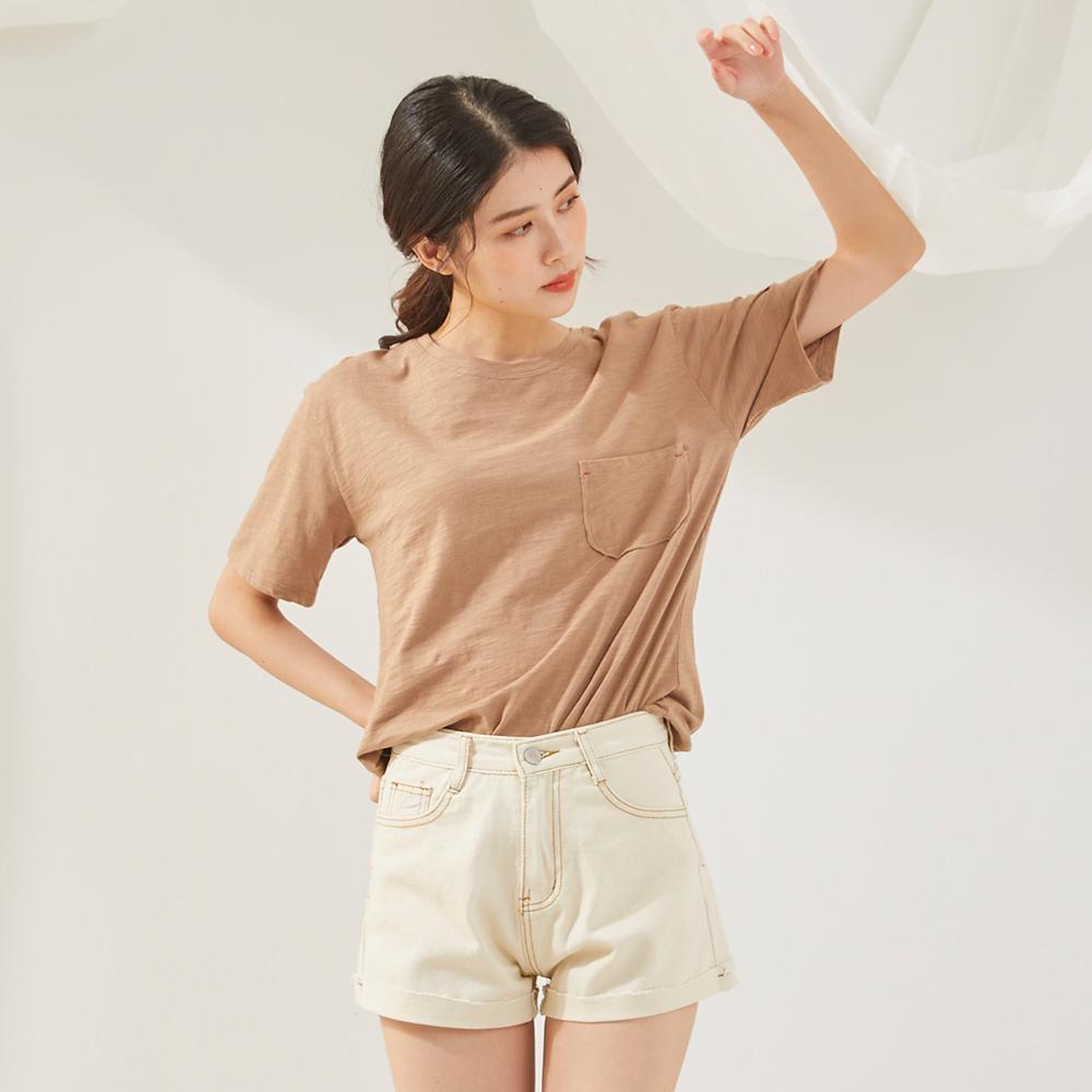 The Madre  質感車縫線米色短褲