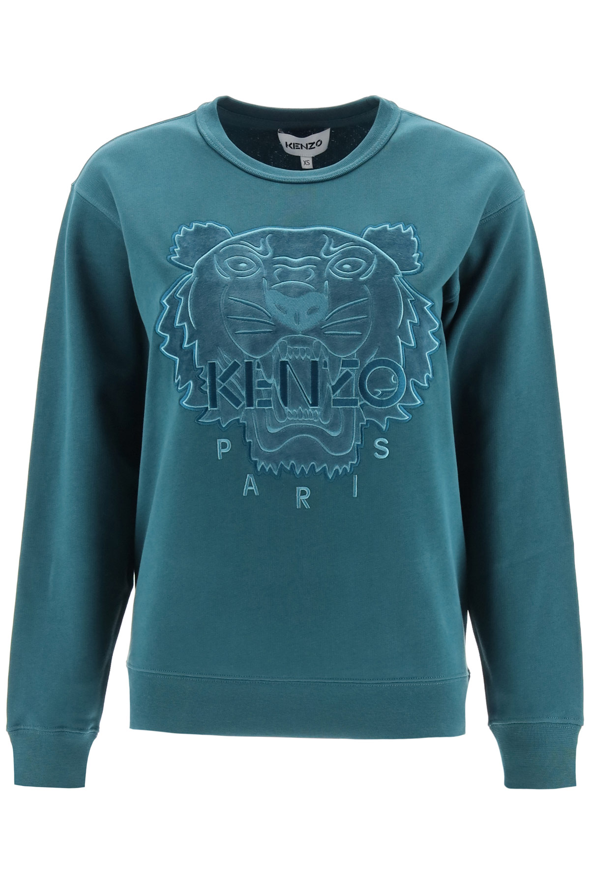 KENZO HOODED SWEATSHIRT TIGER VELVET PATCH XXS Blue Cotton