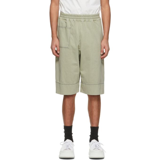 Jil Sander 绿色平纹针织短裤
