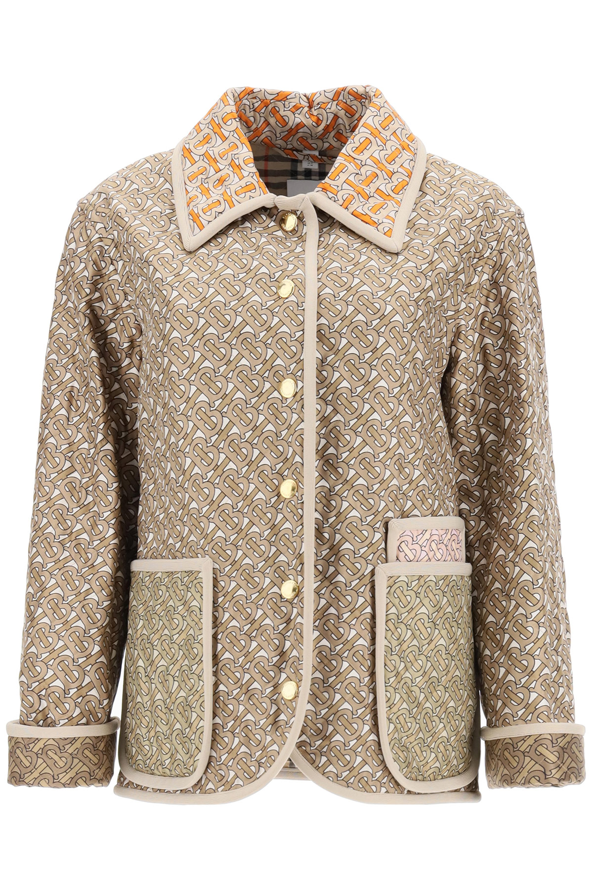BURBERRY QUILTED MONOGRAM JACKET 6 Beige, Brown, Orange Silk