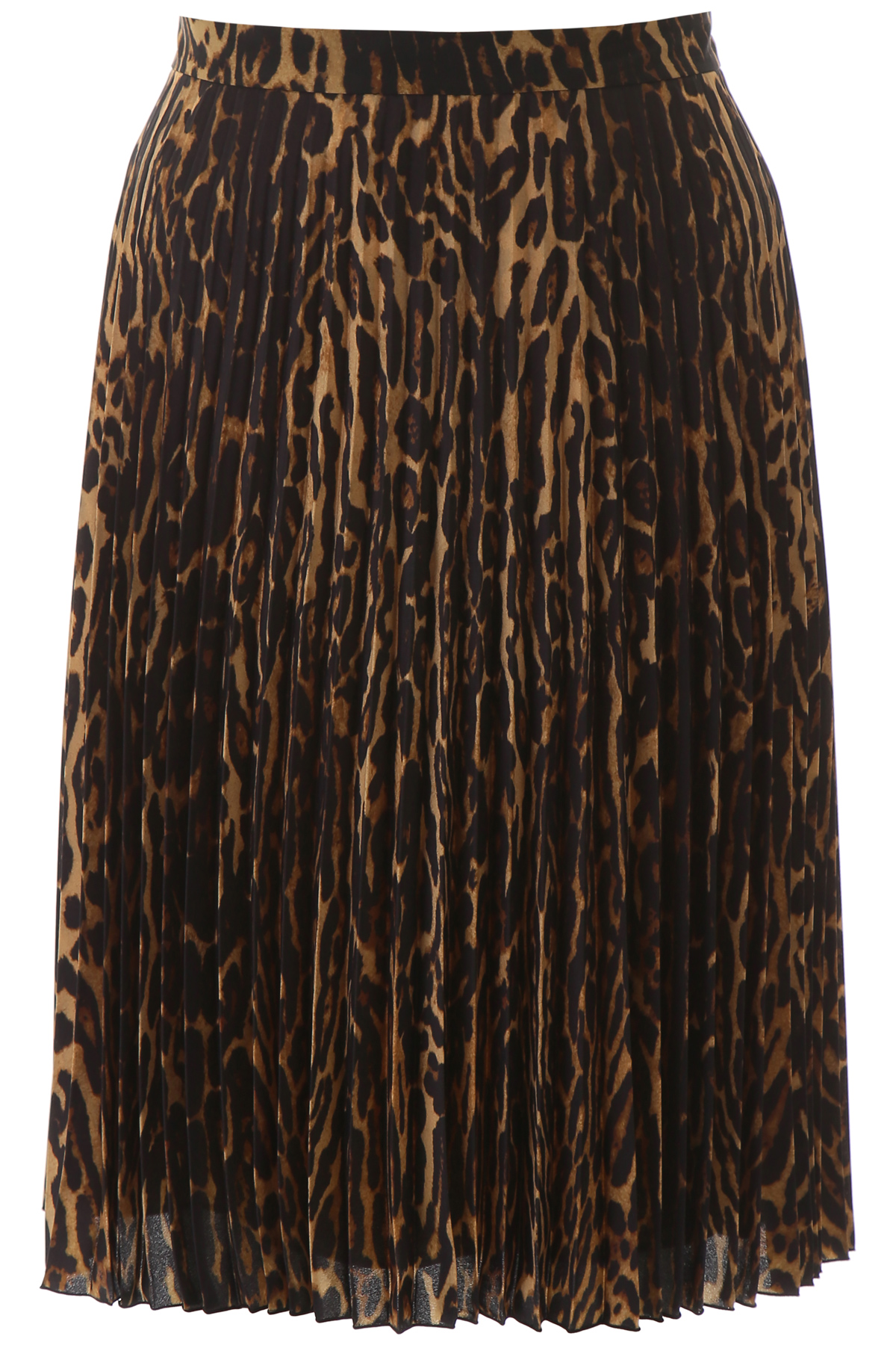 BURBERRY PLEATED ANIMALIER SKIRT 10 Brown, Black