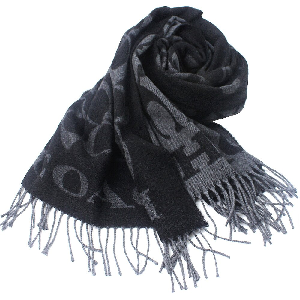 COACH  義大利製 大C LOGO 喀什米爾蠶絲羊毛混紡寬圍巾(黑灰)