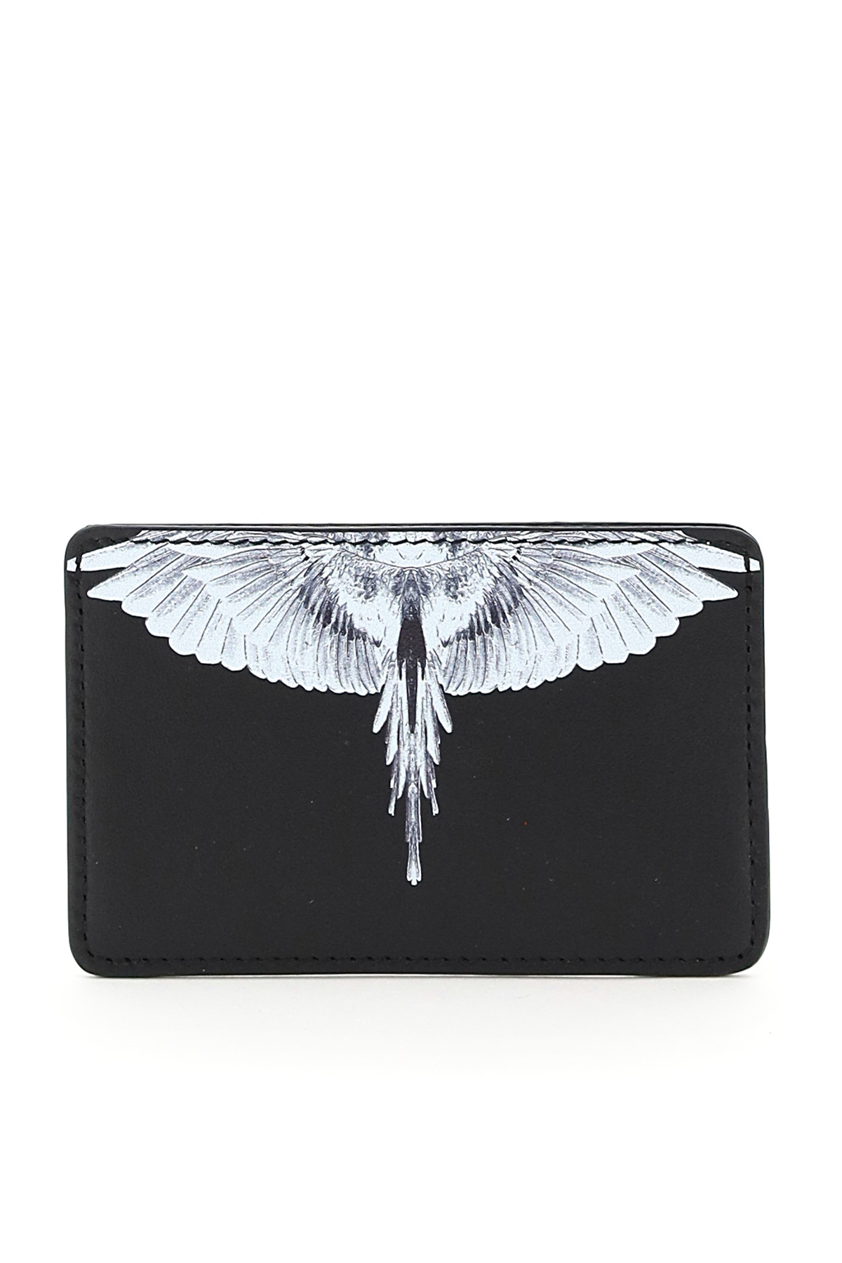 MARCELO BURLON DIAGONAL WINGS CARD HOLDER OS Black, White Leather