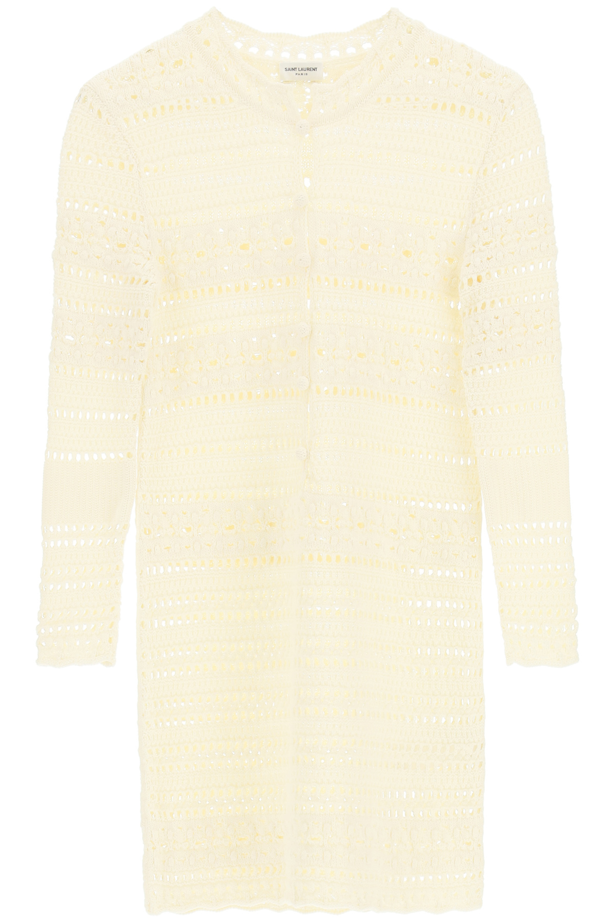 SAINT LAURENT CROCHET DRESS S Beige, White Cotton