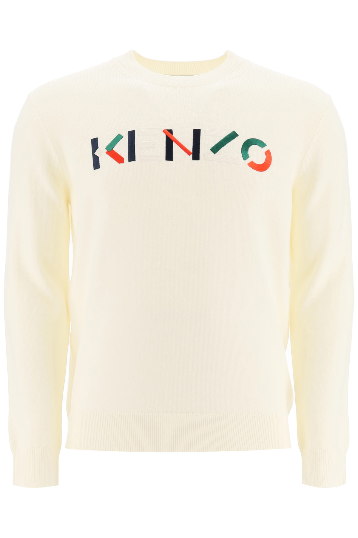 KENZO SWEATER WITH MULTICOLOUR LOGO EMBROIDERY L White Wool
