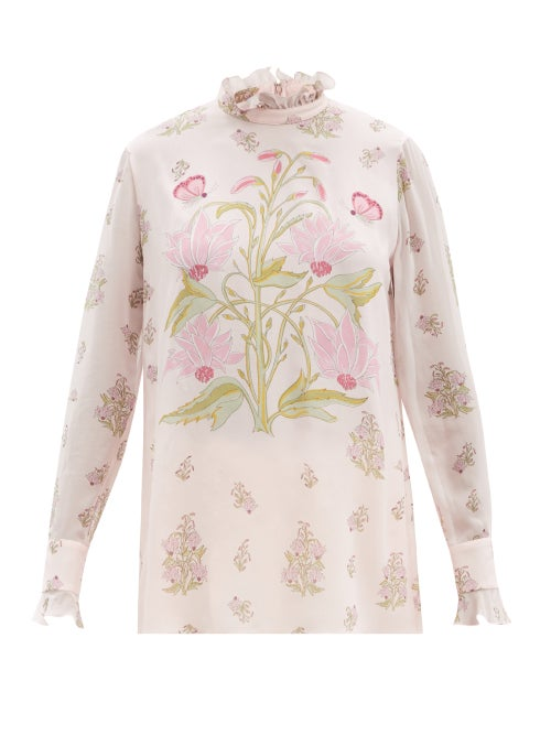 Giambattista Valli - Ruffled Floral-print Silk-georgette Blouse - Womens - Pink Print