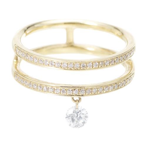 Ring Zéus double pavé 1 diamond