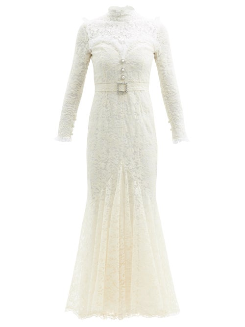 Alessandra Rich - Crystal-embellished Cotton-blend Guipure-lace Gown - Womens - White