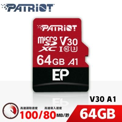 (6/20前再送3%超贈點)Patriot美商博帝 EP MicroSDXC UHS-1 U3 V30 A1 64G 記憶卡