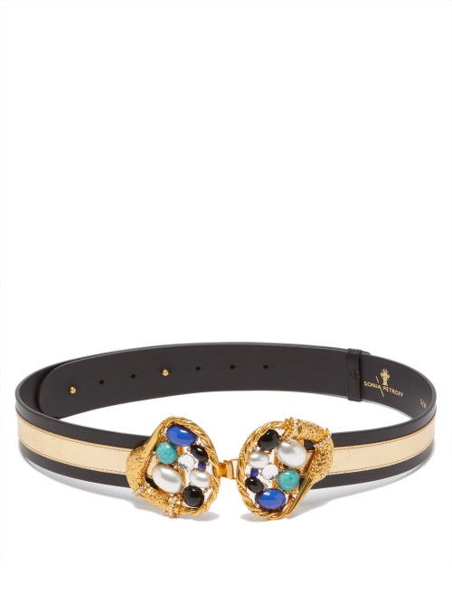Sonia Petroff - Swan Pearl, Onyx & Crystal-buckle Leather Belt - Womens - Blue Multi