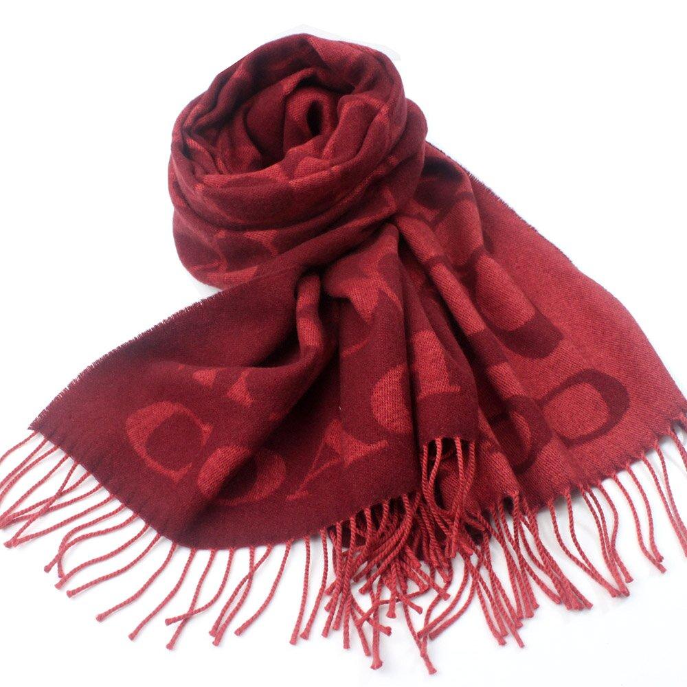 COACH  義大利製 大C LOGO 喀什米爾蠶絲羊毛混紡寬圍巾(暗紅)