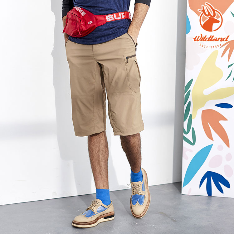 WildLand荒野 0A81372 男透氣彈性抗UV貼袋七分褲 / 城市綠洲(UPF30+、吸濕快乾、雙向彈性)