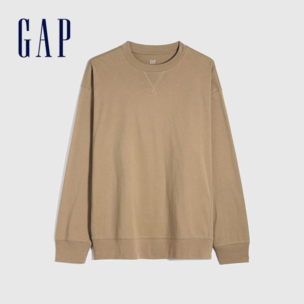 Gap 男裝 純棉寬鬆圓領長袖T恤 842332-卡其色