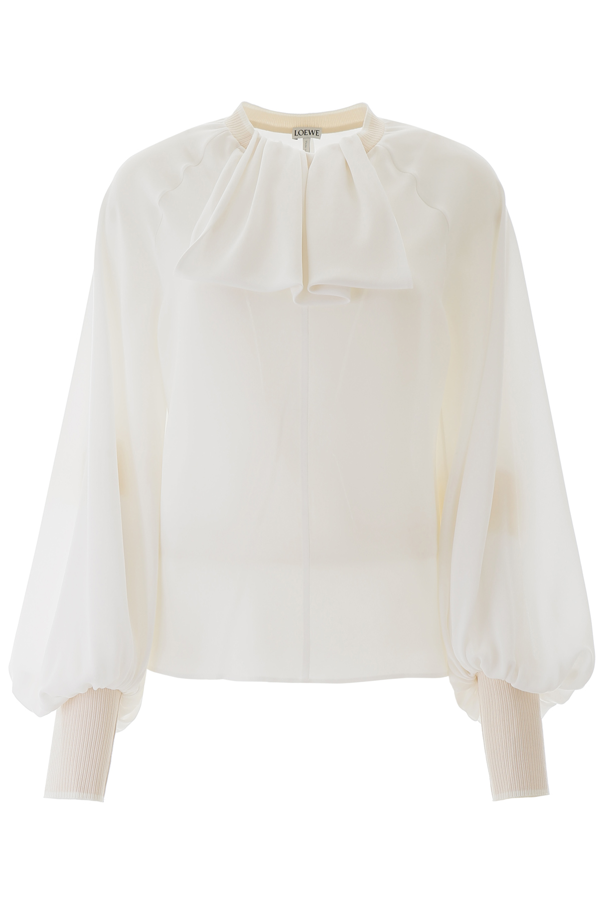 LOEWE BLOUSE WITH SCARF COLLAR 34 White Silk